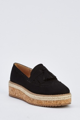 Faux Suede Low Wedge Loafers
