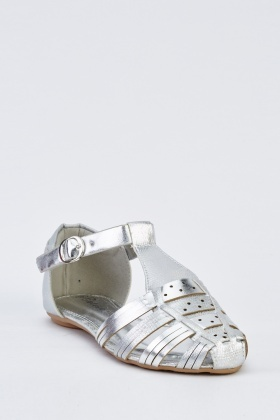 Metallic Closed Toe Gladiator Sandals