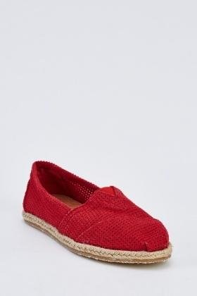 Red Perforated Espadrilles