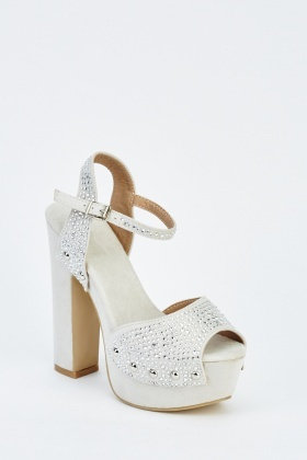 Silver Embellished High Heel Sandals