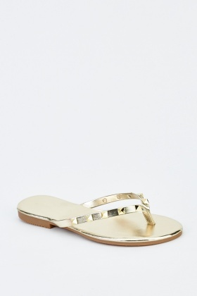Studded Metallic Flip Flops