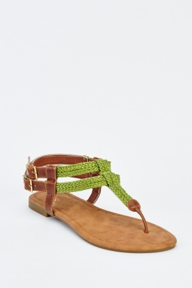 Twin Buckle Contrast Flip Flop Sandals