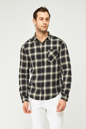 Black Checked Grid Shirt