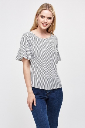 Frilly Sleeve Striped Top