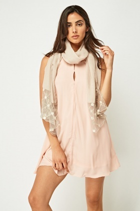 Mesh Insert Faux Pearl Detail Scarf