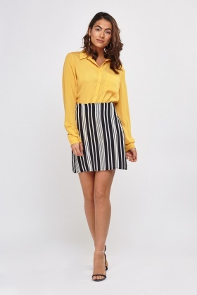 Striped Mini Wrap Skirt