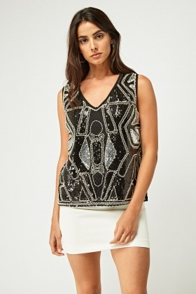 Beaded Front Encrusted Top