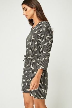 Butterfly Printed Stripe Dress