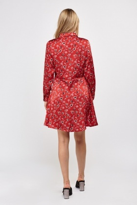 Button Up Sateen Printed Dress