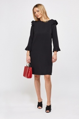 Flared Trim Shift Dress