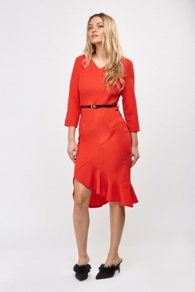 Frilled Asymmetric Hem Belted Dress