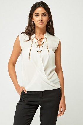 Gold Lace Up Chain Wrap Top