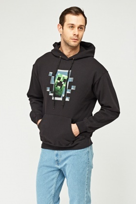 Graphic Front Black Hoodie
