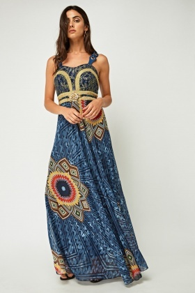 Metallic Net Insert Printed Maxi Dress
