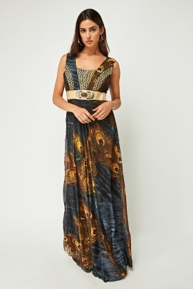 Metallic Sheer Printed Maxi Dress