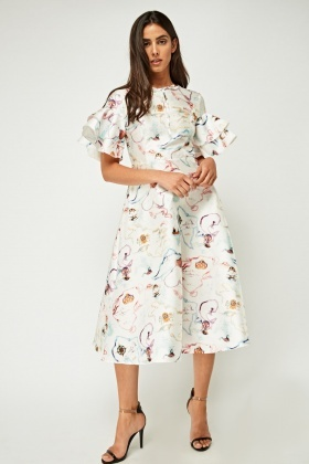 Printed Double Frilly Sleeve Dress