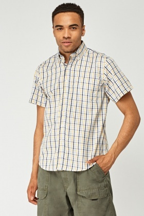 Short Sleeve Checked Mens Shirt