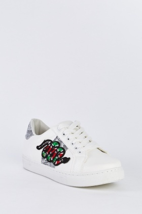 Applique Side Low Top Trainers