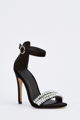 Embellished Open Toe Heeled Sandals