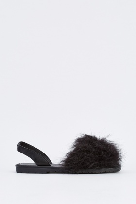 Faux Fur Sling Back Sandals