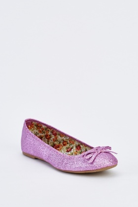 Glittered Ballet Bow Pumps