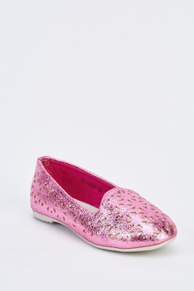 Kids Metallic Laser-Cut Pumps