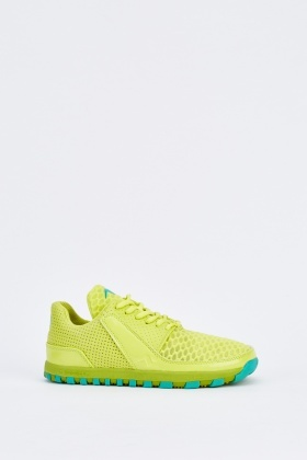 Mesh Detail Lace Up Perforated Trainers