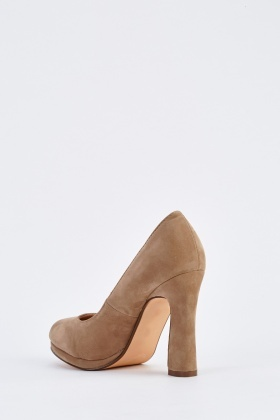 Round Toe Block Court Heels