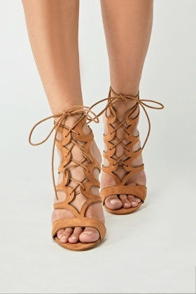 Suedette Cut Out Laced Heels