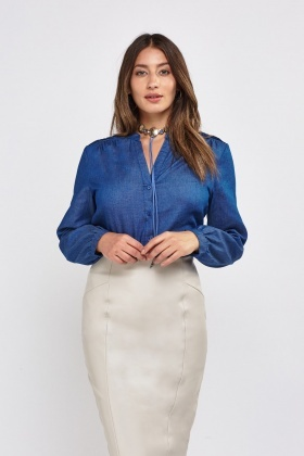 Bishop Sleeve Denim Top