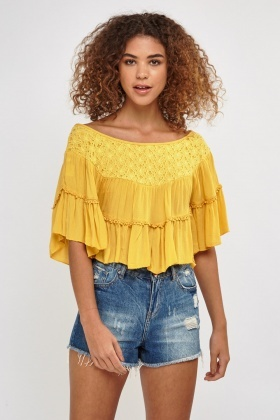 Crochet Insert Frilly Top