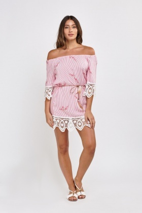 Crochet Trim Off Shoulder Dress