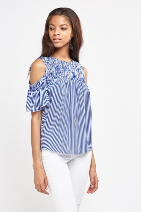 Cut Out Shoulder Striped Frilly Top
