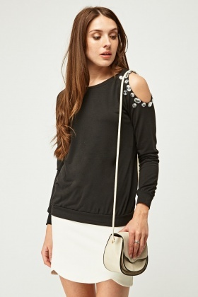 Embellished Cut Out Shoulder Top