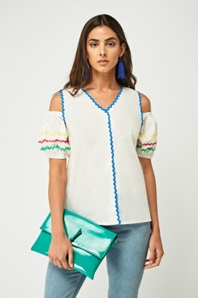 Embroidered Trim Cut Out Shoulder Top