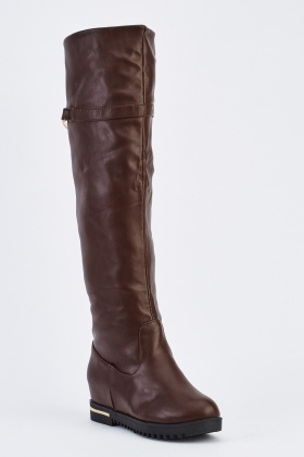Faux Leather Detailed Knee High Boots