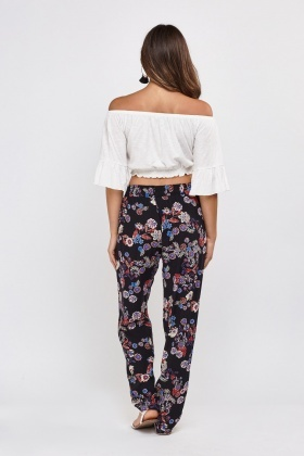 Flower Printed Tapered Trousers