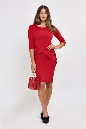 Knotted Ruched Bodycon Dress