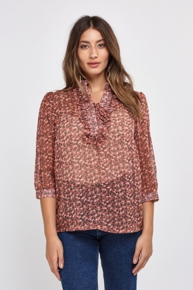 Lace Up Ruffle Printed Sheer Blouse