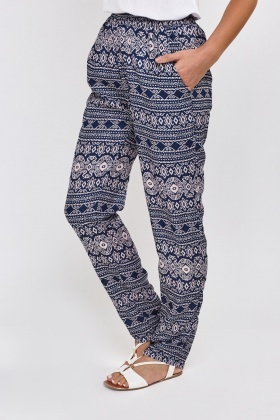 Mixed Print Casual Trousers