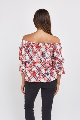 Mixed Printed Off Shoulder Top