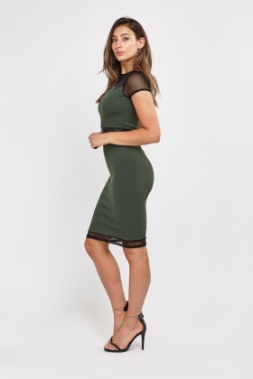 Perforated Mesh Bodycon Dress