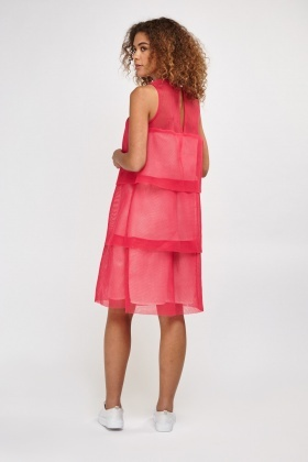 Perforated Net Overlay Tiered Dress