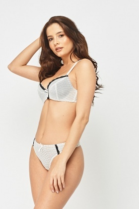 Polka Dot Trim Bullet Bra And Brief Set