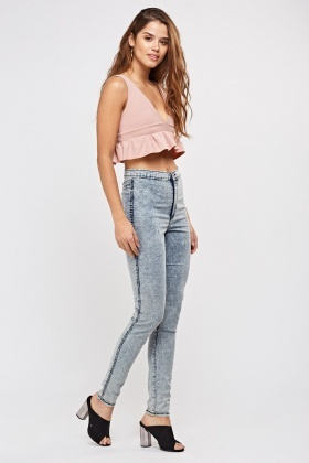 Slim Fit High Waisted Denim Jeggings
