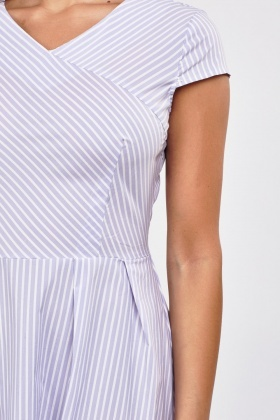 Striped A-Line Midi Dress