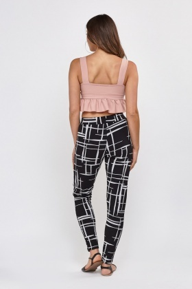 Textured Rose Print Trousers