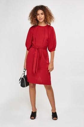 Tie Up Midi Shift Dress