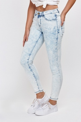 Washed Light Blue Ankle Grazer Jeans