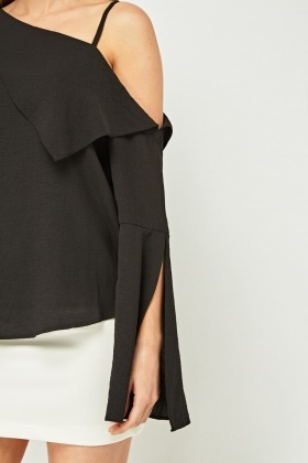 Asymmetric Ruffle Shoulder Blouse